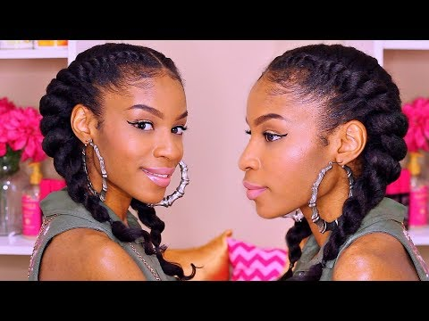 How To Jumbo Flat Twist► Natural Hair Protective Style with Clip ins