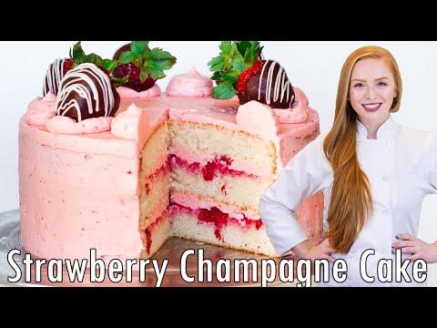 Strawberry Champagne Cake