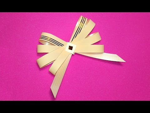 Unique SIMPLE bow. Only paper and glue!  Ribbon bow! Easy Bow for gift decoration