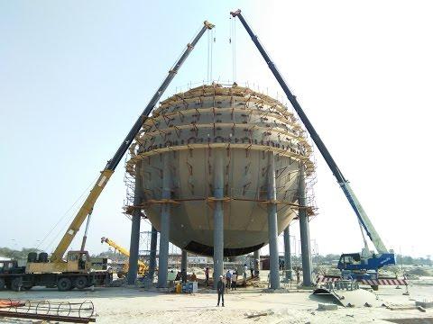 LPG Storage Tank Top Plate Erection || Propane Storage tank construction || Biggest propane tank