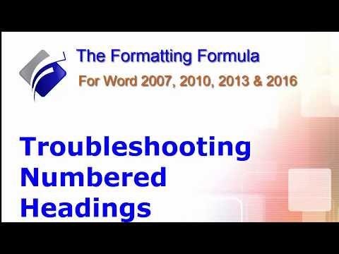 Word   Troubleshooting Numbered Headings