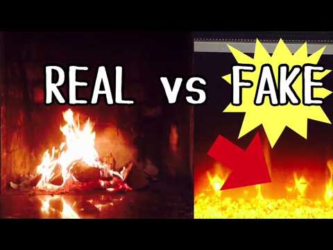 REAL VS FAKE FIREPLACE   Traditional and Electric Fireplace Comparison