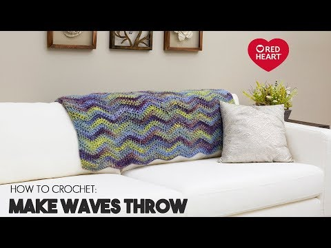 Crochet Chevron Blanket for Beginners - Make Waves Throw by Red Heart