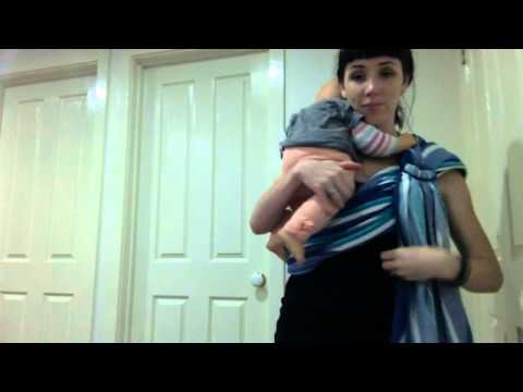 how to make a no-sew ring sling using half a woven cotton tablecloth, sling rings.