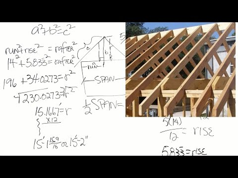 How to calculate the length of roof rafters (captioned)