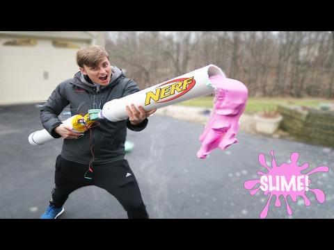 NERF SLIME CANNON - how to make glitter slime (diy slime easy)