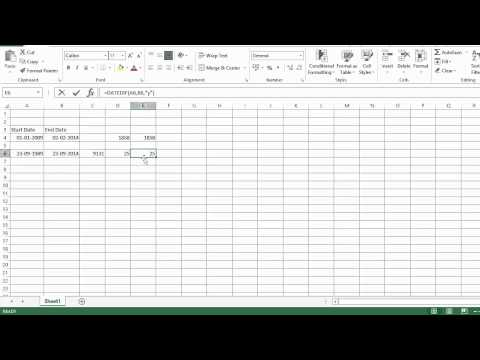 Excel calculate number of days, months and years between two dates in tamil