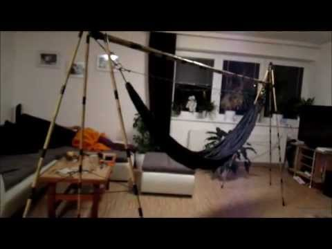DIY hammock stand from bamboo