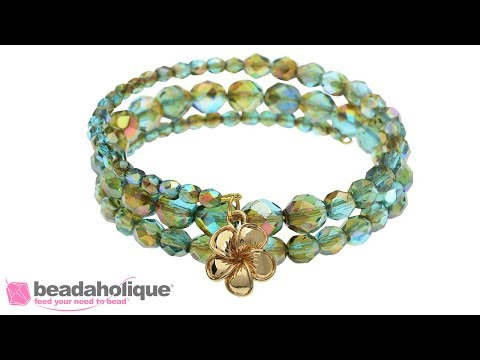 How to Make a Memory Wire Bracelet using Czech Fire Polished Glass Beads