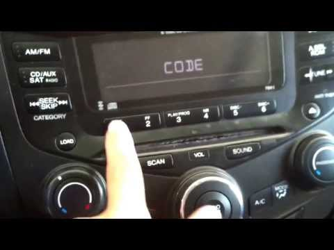 2004 Honda Accord, radio code locked