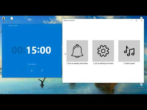 Battery Level Alarm App for Windows 10 Phone, Tablet and Laptop