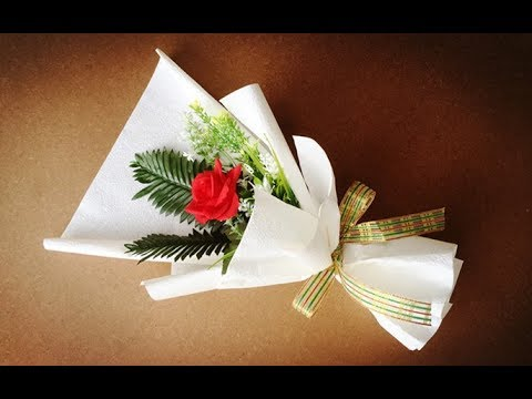 ABC TV   How To Make Flower Bouquet With Single Rose #5 - Craft Tutorial