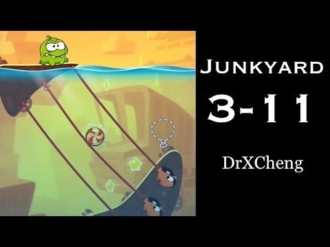 Cut the Rope 2 Walkthrough - Junkyard 3-11 - 3 Stars + Medal [HD]