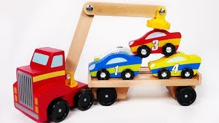 Car Carrier Toy Car Vehicles Learn Colors with Parking Garage Playset for Kids