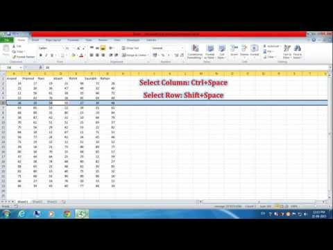 Keyboard Shortcut to Select Row and Column in Excel