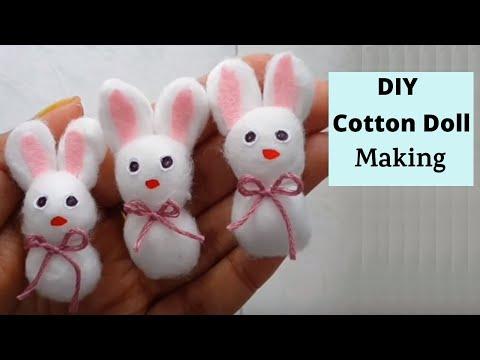 How to make cotton ball Rabbit #easy cotton doll