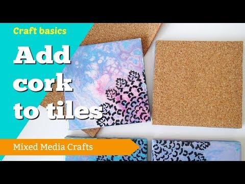 Adding cork backing to painted tiles to make coasters