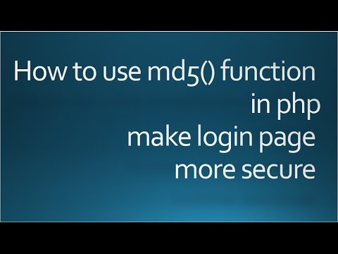 Program with Source code : Make Login secure in php with md5() function()