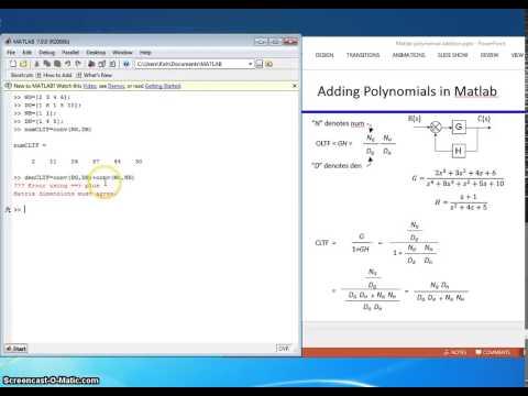 Matlab adding polynomials
