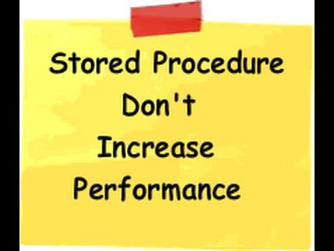 Stored procedures DONOT increase performance(.NET and SQL training video)