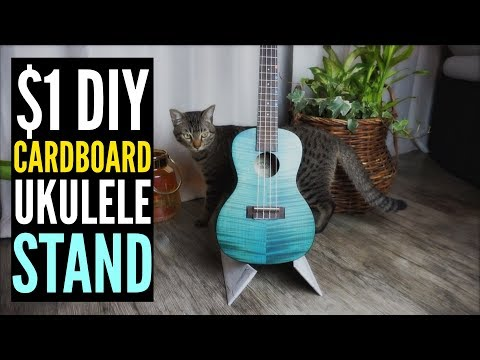 $1 DIY CARDBOARD UKULELE STAND - DO IT YOURSELF