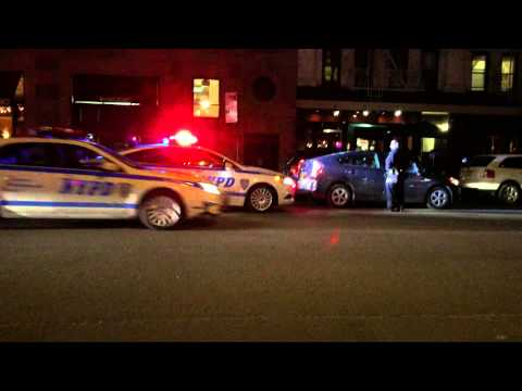 NYPD CONDUCTING A TRAFFIC STOP ON AMSTERDAM AVENUE ON THE WEST SIDE OF MANHATTAN IN NEW YORK CITY.