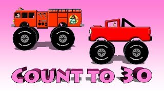 Count To 30 - Kids Counting With Trucks, Cars and Other Vehicles