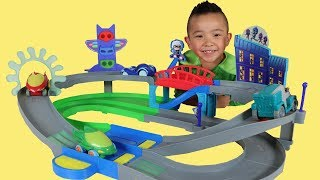 PJ MASKS Toys Unboxing Nightime Adventures Rev N Rumblers Track Playset With Ckn