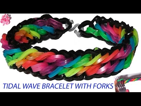 How to make Tidal Wave bracelet loom bands with forks without a loom movie 2015