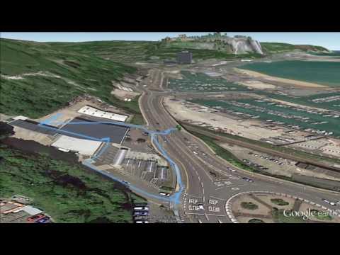 Google Earth 3D Strava Flythrough of Dover castle and coastline