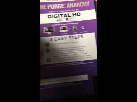 The Purge Anarchy Digital HD Copy Code ultraviolet itunes vudu