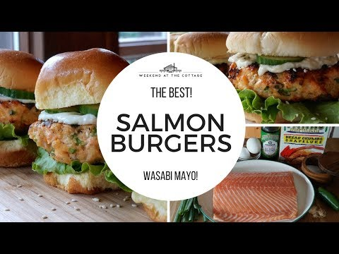 Tasty GRILLED SALMON BURGERS with Ginger-Wasabi Mayo!