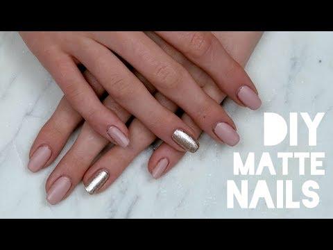 DIY Matte, Nude, Glitter Nail Tutorial at Home!