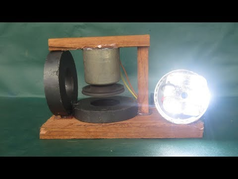 Free energy technology magnet motor with light bulbs - Science school projects at home