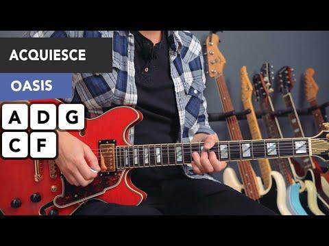 Oasis Acquiesce Guitar Lesson Tutorial - All Riffs & Chords