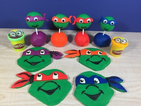 Ninja Turtles cookies and lollipops, make them with Play Doh..
