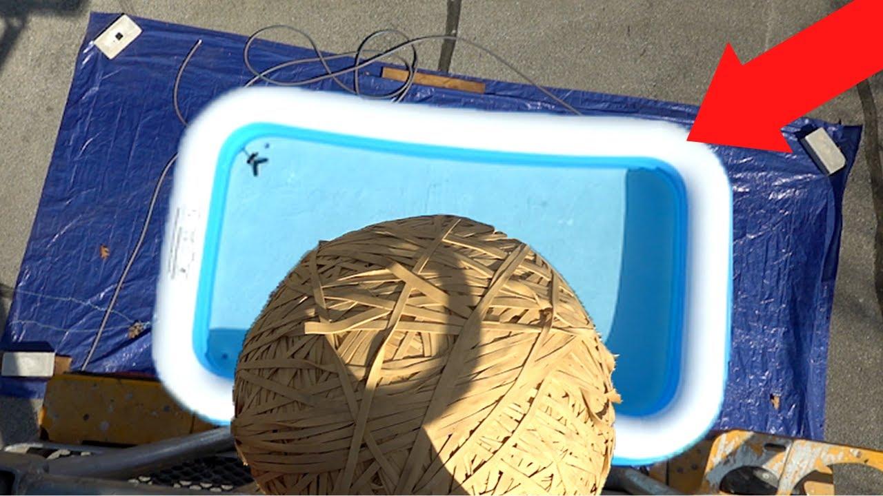 160LB Rubber Band Ball Vs. Pool (40 FEET DROP!!)