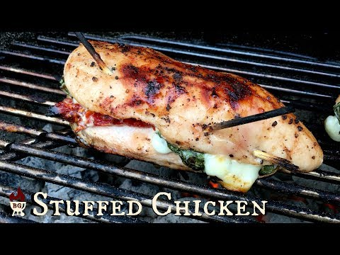 Grilled Stuffed Chicken Breast Recipe | Chicken Stuffed and Grilled On The Weber Grill