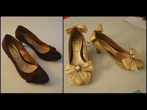 Glitter Gold Lolita Shoes Transformation DIY