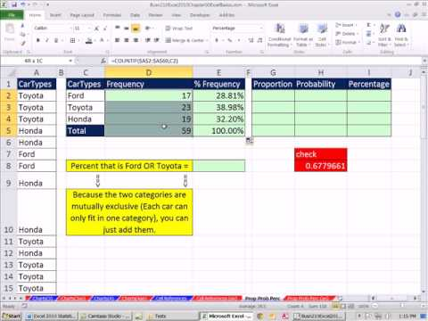 Excel 2010 Statistics 09: Proportions, Probabilities and Percentages: Formulas and Formatting