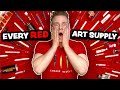 I Used EVERY RED ART SUPPLY I Own To Create An Artwork