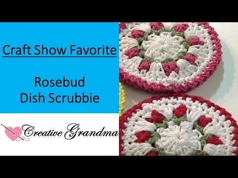 How To Crochet - Rose Bud Double Sided (Dish Scrubbie) Quick & Easy!