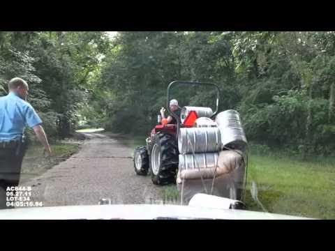 Drunk on tractor full of beer kegs