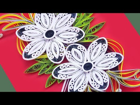 Paper art | How To Make Beautiful Quilling Flowers Design Birthday Card| Paper Quilling Art