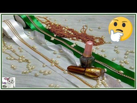 How to make Pearl Beaded Satin Ribbon Hair Jewellery using Nail Polish   Hair Accessories   Diy
