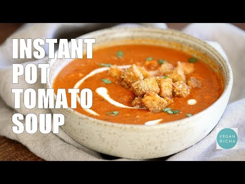 Instant Pot Tomato Soup with Cornmeal Crusted Tofu Croutons | VEGAN RICHA RECIPES
