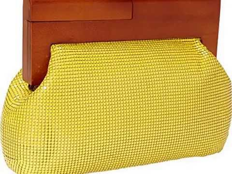 Details Whiting and Davis Heidi Wood Framed Mesh Clutch (Yellow) Top List