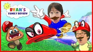 Ryan and Daddy play new Mario Odyssey on Nintendo Switch! Let