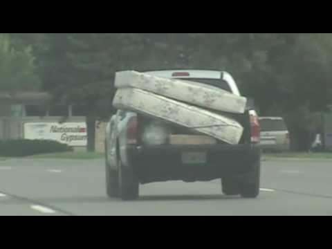 Small Pickup Truck With Two Big Mattresses, Telegraph Road, Michigan, August 27, 2016
