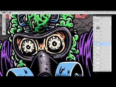 Biohazard, time lapse digital illustration poster in Photoshop